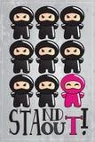 Carte avec le caractère mignon de ninja de dessin animé Images libres de droits