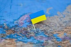 Carte avec le drapeau de l'Ukraine photo stock