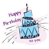 Carte avec le gâteau d'anniversaire Photo stock