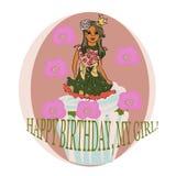Carte avec le gâteau de cuvette Illustration de vecteur illustration libre de droits