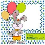 Carte avec le garçon de lapin Images libres de droits