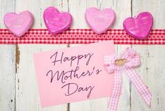 Carte avec le jour de mères heureux d'inscription Photo libre de droits