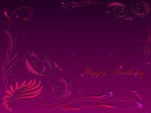 Carte avec le joyeux anniversaire de salutation dans le cadre de l'ornement floral illustration libre de droits