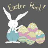 Carte avec le lapin de Pâques et l'oeuf décoratif coloré Illustration de vecteur illustration stock