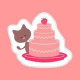Carte avec le minou et le gâteau Image stock