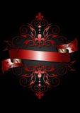 Carte avec le ruban rouge brillant, le modèle rouge, le défilement et l'héraldique Image libre de droits