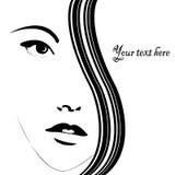Carte avec le visage de femme Photographie stock