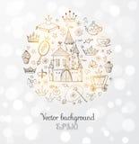 Carte avec les accessoires des princesses Photographie stock