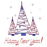 Carte avec les arbres de Noël décoratifs multicolores illustration stock