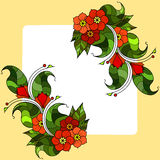 Carte avec les brindilles abstraites avec des fleurs Image de vecteur Images stock