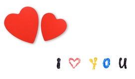 Carte avec les coeurs et le message Image libre de droits
