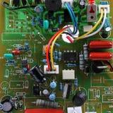 Carte avec les composants électriques Photos stock
