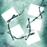 Carte avec les feuilles et la proue de bande bleue illustration libre de droits