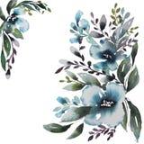 Carte avec les fleurs bleues d'aquarelle illustration de vecteur