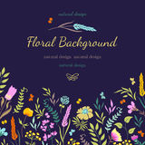 Carte avec les fleurs colorées illustration libre de droits