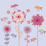 Carte avec les fleurs et les oiseaux traditionnels Image libre de droits