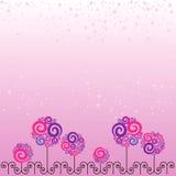 Carte avec les fleurs roses illustration de vecteur
