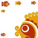 Carte avec les poissons décoratifs illustration de vecteur