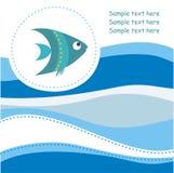 Carte avec les poissons mignons Photographie stock libre de droits