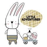 Carte avec marquer avec des lettres peu d'aventurer avec le lapin mignon avec le chariot des oeufs Illustration de vecteur Photo stock