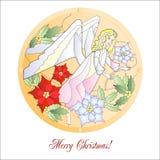 Carte avec Noël Vitrail avec l'ange Photo stock