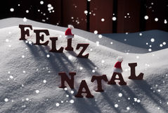 Carte avec Santa Hat, flocon de neige, Feliz Natale Mean Merry Christmas Image libre de droits