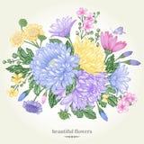 Carte avec un bouquet de fleur illustration libre de droits