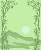 Carte avec un paysage, un soleil et un bambou de montagne Photo stock