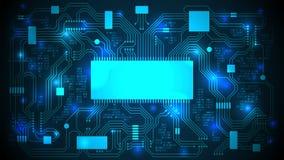 Carte avec un processeur, des puces et un code binaire Fond électronique de pointe abstrait, l'espace de copie, calibre Photo libre de droits