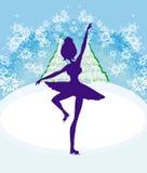 Carte avec une silhouette d'un patineur artistique féminin Images stock