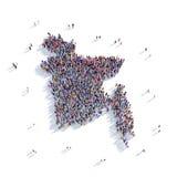 Carte Bangladesh de forme de groupe de personnes Photo libre de droits