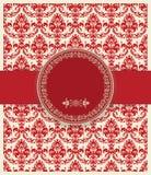 Carte baroque d'invitation dans le style démodé, rouge Images stock