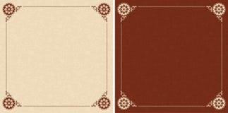Carte beige e marroni con l'ornamento floreale Illustrazione di Stock