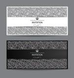 Carte in bianco e nero con gli elementi di progettazione floreale Fotografia Stock Libera da Diritti