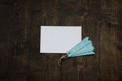 carte blanche avec amour bleu d'étiquette Photo libre de droits