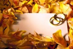 Carte blanche avec des boucles de mariage Photo libre de droits