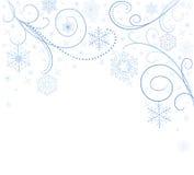 Carte blanche avec des flocons de neige Photos libres de droits