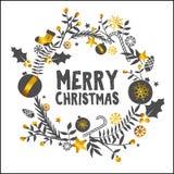 Carte blanche d'or d'ornement de Joyeux Noël illustration stock