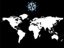 Carte blanche du monde avec la rose de vent d'isolement sur le noir Images stock