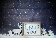 Carte blanche et d'or de vintage de Noël, flocons de neige, merci photos stock