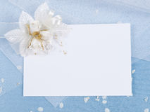Carte blanche pour la félicitation sur un bleu Photographie stock libre de droits