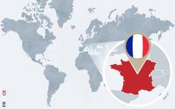 Carte bleue abstraite du monde avec des Frances magnifiées illustration libre de droits