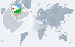 Carte bleue abstraite du monde avec Djibouti magnifié illustration stock