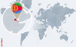 Carte bleue abstraite du monde avec l'Érythrée magnifiée illustration libre de droits