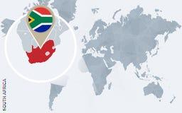 Carte bleue abstraite du monde avec l'Afrique du Sud magnifiée illustration stock