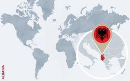 Carte bleue abstraite du monde avec l'Albanie magnifiée illustration libre de droits