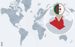 Carte bleue abstraite du monde avec l'Algérie magnifiée illustration libre de droits