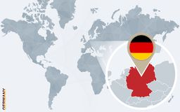 Carte bleue abstraite du monde avec l'Allemagne magnifiée illustration stock