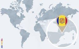 Carte bleue abstraite du monde avec l'Andorre magnifiée illustration stock