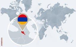 Carte bleue abstraite du monde avec l'Arménie magnifiée illustration de vecteur